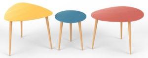 3 tables basses gigogne couleurs vives