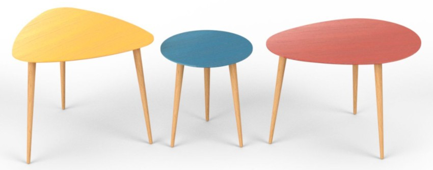 3 tables basses gigogne couleurs vives