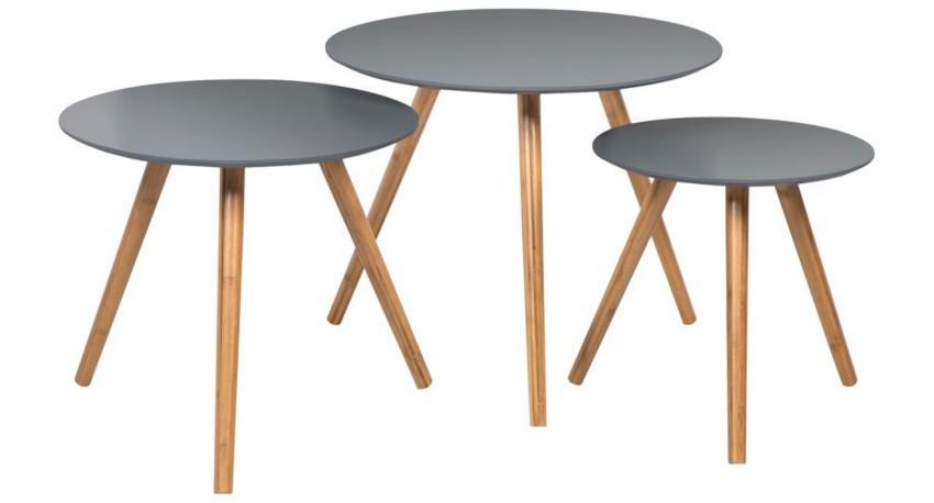 3 tables basses rondes gigogne plateau gris
