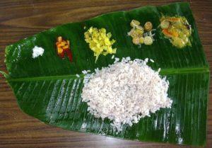 feuille de bananier en guise de thali