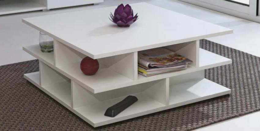table basse blanche pas cher carrée avec rangements