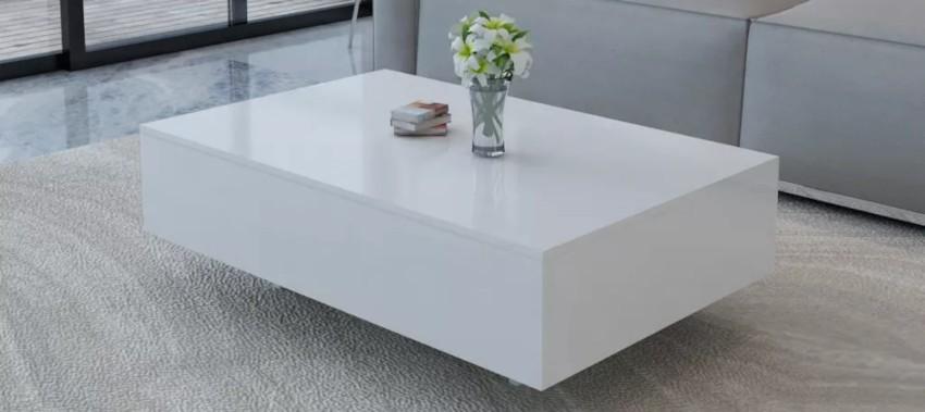 table basse blanche pas cher rectangulaire laquée