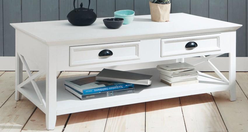 table basse blanche pas cher avec tiroirs et étagère