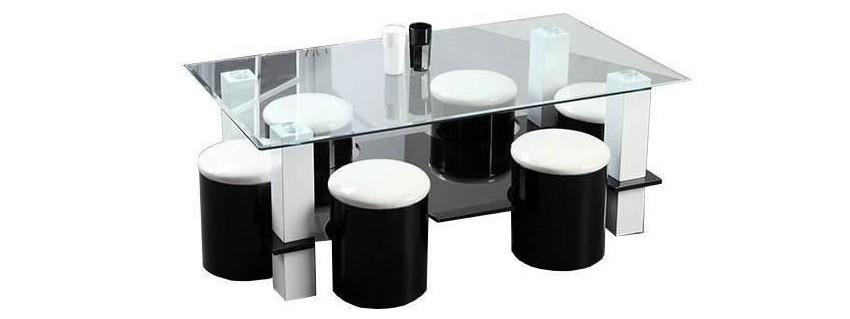 table basse carrée plateau de verre 6 poufs intégrés