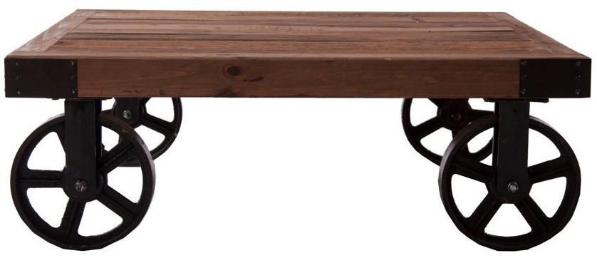 table basse en bois à roulettes en fer