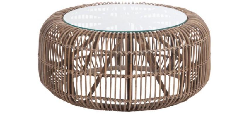 table basse en rotin ronde et plateau de verre