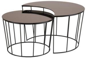 table basse gigogne ronde noire et marron
