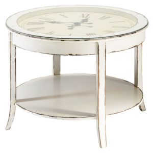 table basse horloge blanche