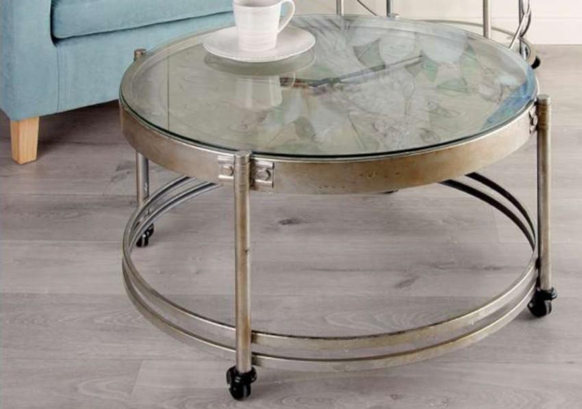 table basse horloge style ancien sur roues