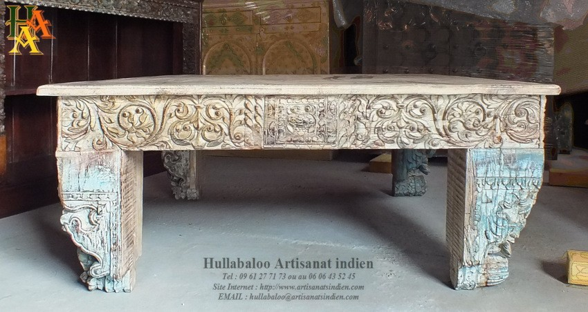 table basse indienne artisanale