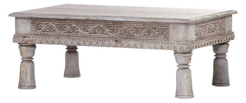 table basse indienne blanche en manguier