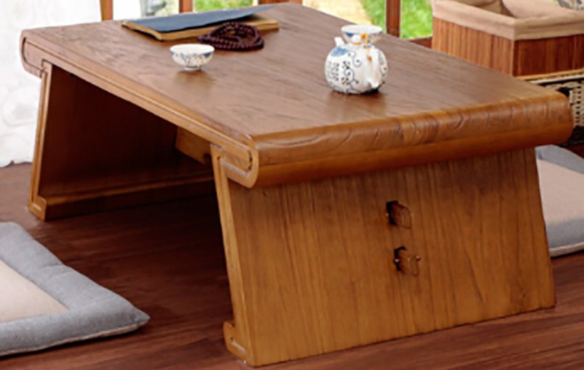table basse japonaise en bois massif au style traditionnel
