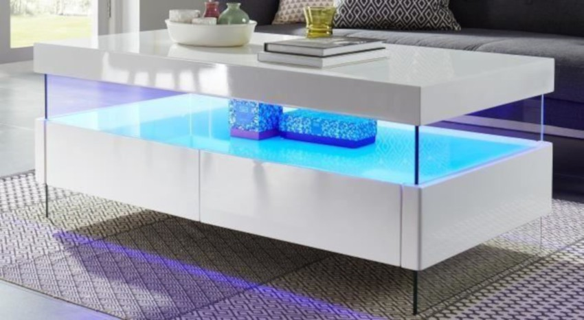 table basse led avec vitrine