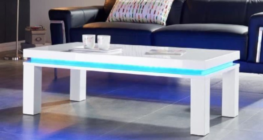 table basse led rectangulaire blanche