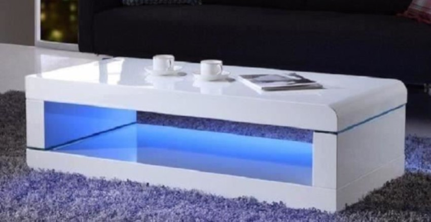 table basse led laquée blanche