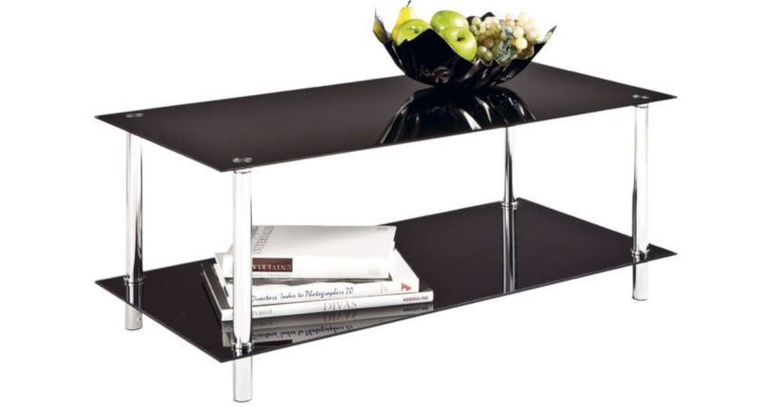 table basse noire pas cher moderne en verre