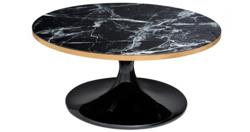 table basse noire ronde plateau marbre