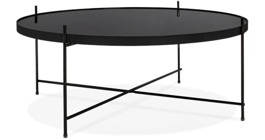 table basse noire ronde et son plateau miroir