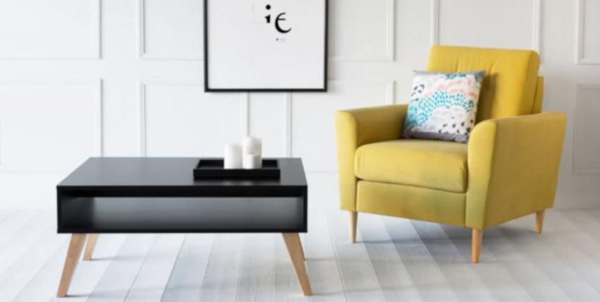 table basse noire scandinave avec niche de rangement