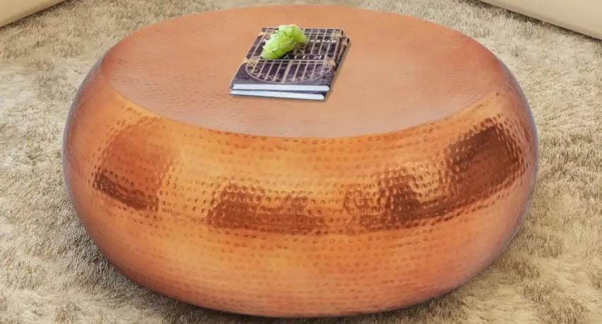 table basse pas cher en aluminium couleur cuivre