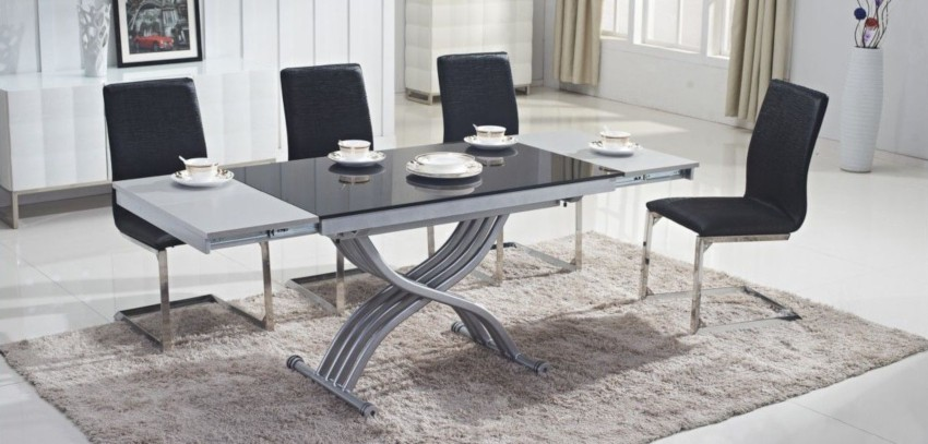 table basse relevable grise 2 allonges