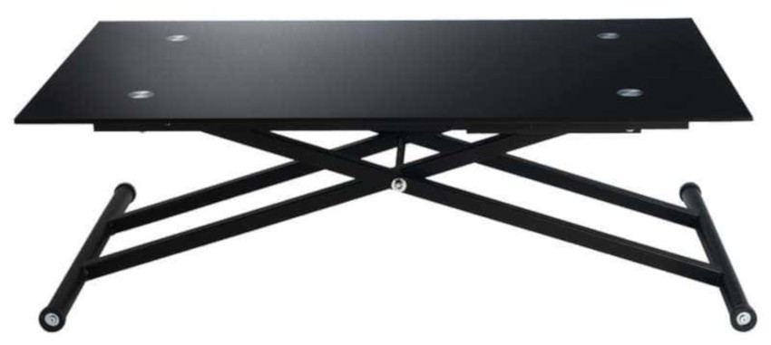 table basse relevable noire escamotable