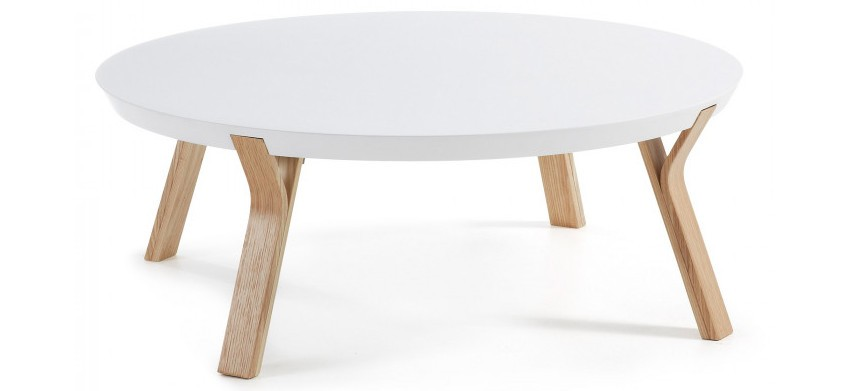 table basse ronde blanche scandinave
