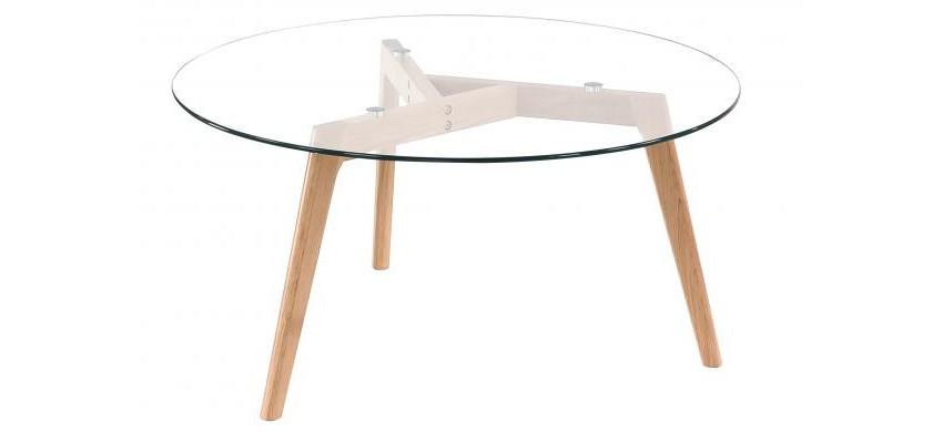 table basse ronde et son plateau en verre trempé