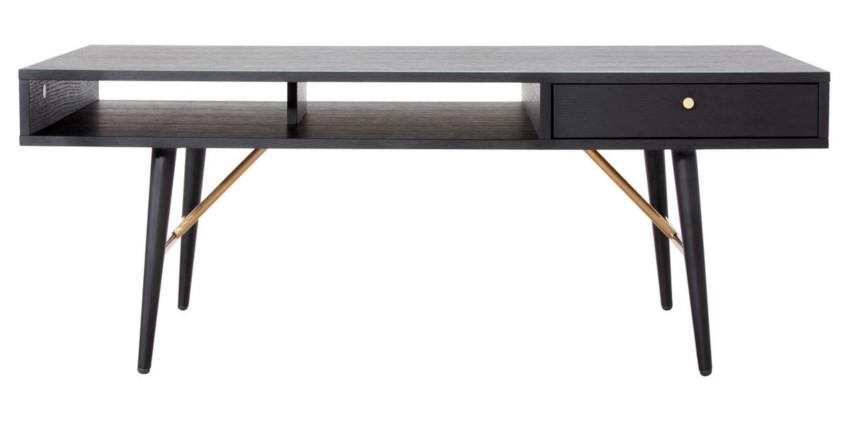 table basse scandinave noire avec tiroir et rangements