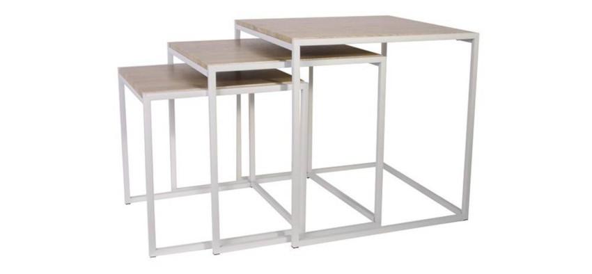 3 tables basses gigognes carrées au style scandinave