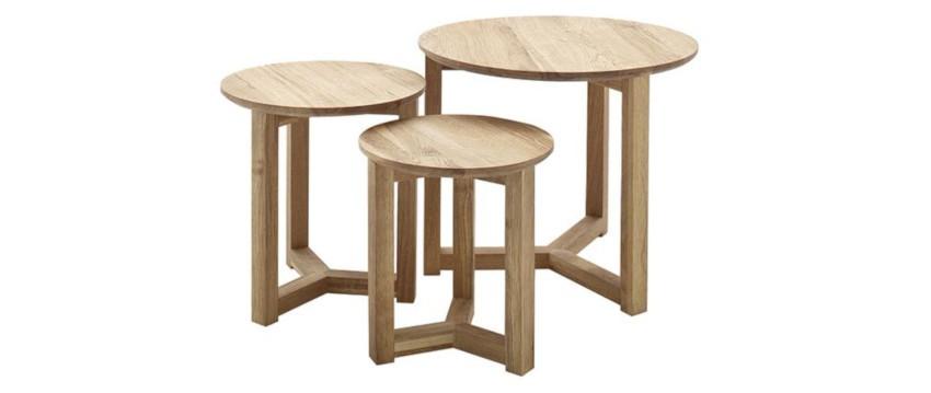 3 tables basses gigognes en bois de chêne au plateau rond
