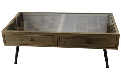 Table basse vitrine bois