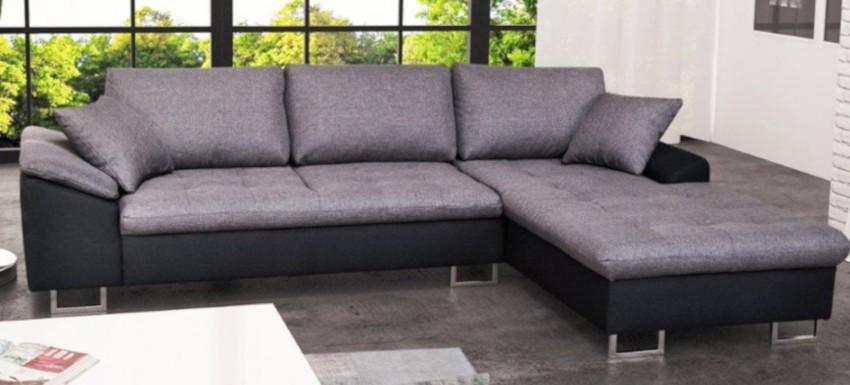 canapé d'angle en tissu gris et similicuir