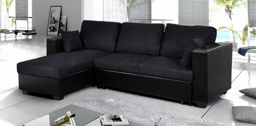 canapé d'angle noir en cuir