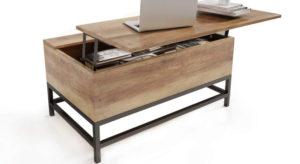 table basse avec rangements pas cher et pieds en fer