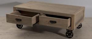 table basse avec rangements tiroirs style industriel sur roulettes