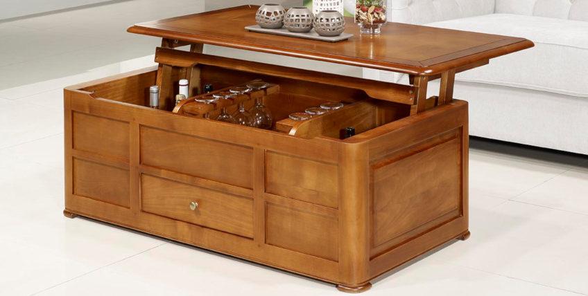 table basse bar en merisier massif