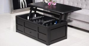 table basse bar en merisier noir