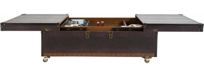 table basse bar en similicuir marron croco colonial