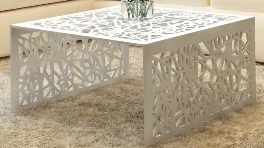 table basse blanche carrée en métal (aluminium)