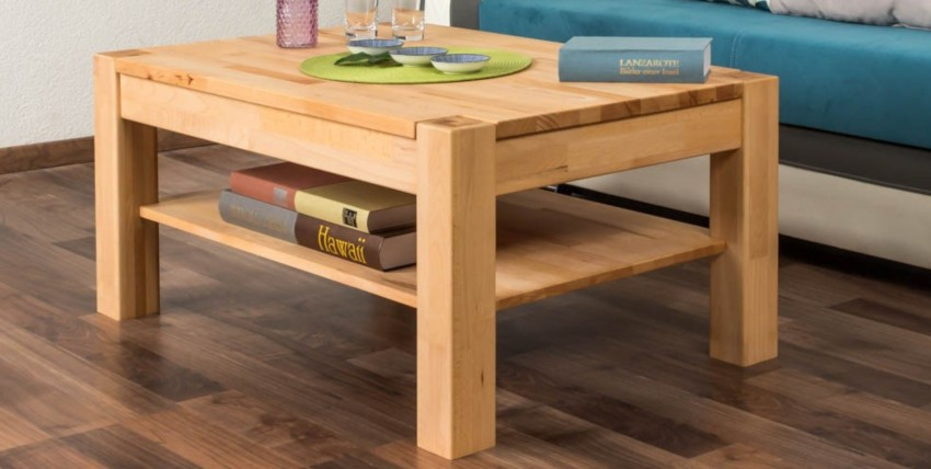 table basse carrée en bois huilée