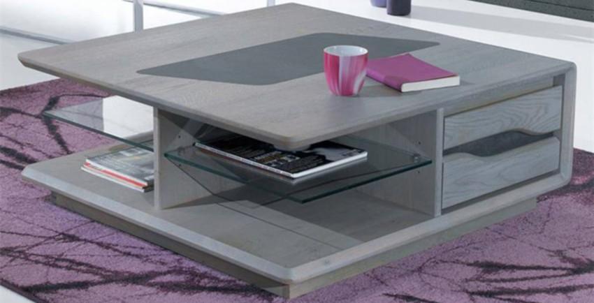 table basse carrée en chêne massif grise avec rangements