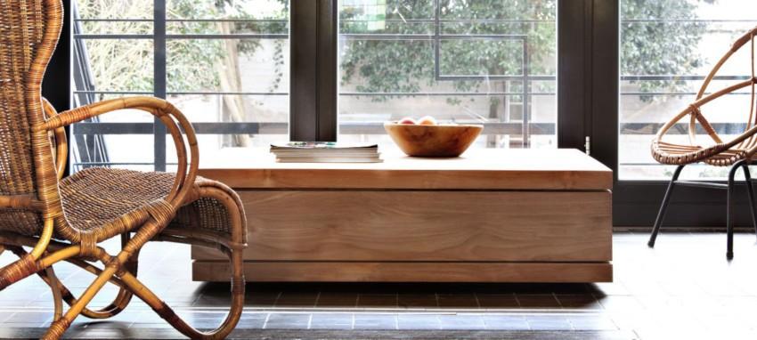 table basse carrée en teck massif au style épuré japonais