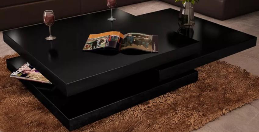 table basse carrée laquée noire aux 3 étagères