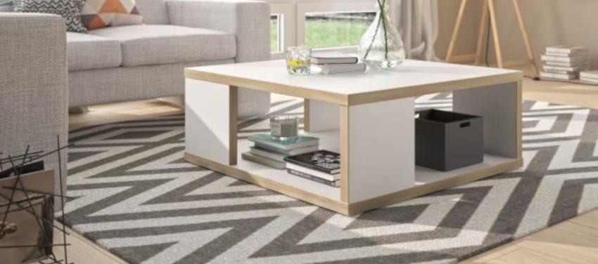 table basse carrée scandinave blanche pas cher