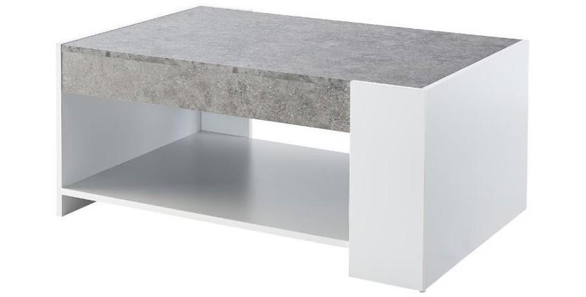 table basse effet béton moderne et blanche