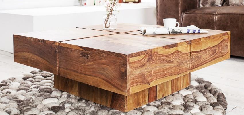 table basse en bois de sheesham massif pas cher