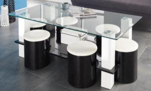 table basse en verre avec 6 poufs intégrés