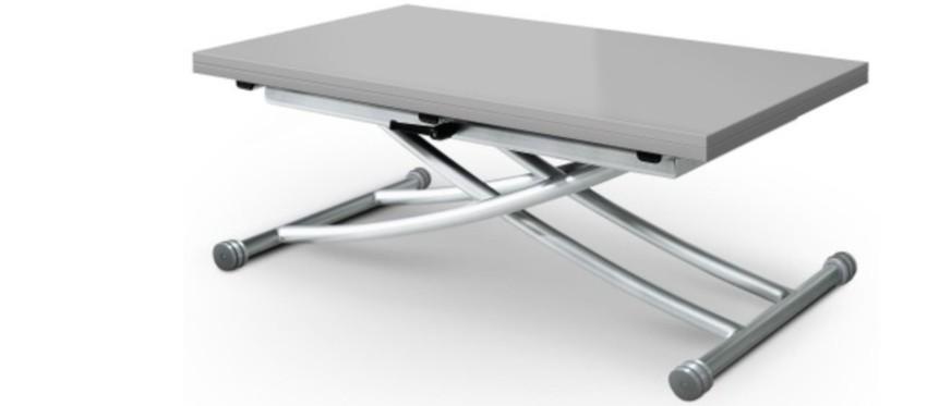 table basse laquée gris clair rectangulaire relevable