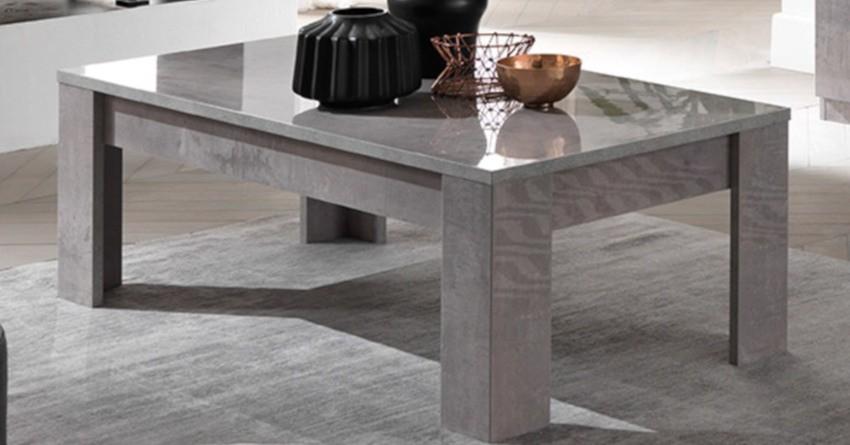 table basse laquée grise rectangulaire effet béton